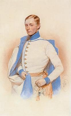 Josef Kriehuber(Vienna 1800-1876) Portrait of Georg Franz, Count Kesselstadt, signed and dated Kriehuber (1)846, Watercolour on paper, ca. 30 x 19 cm, Passepartout, framed, (W)