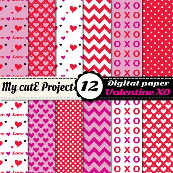Valentine Love XO Heart   Instant Download  by Mycuteproject