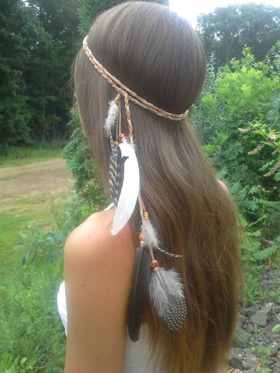 Elegant Native American Feather HeadBand hippie by dieselboutique