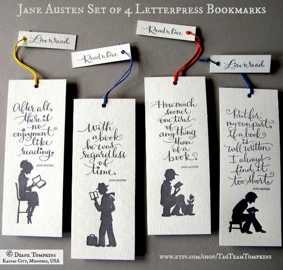 Jane Austen Bookmarks  © Diane & Madeline TOMPKINS (Artists. Kansas City, Missouri, USA)  via their shop. [Do not remove caption. International copyright law requires YOU to credit the copyright holder(s) by name.  Link directly to their website.  If you're fair, you care.]  FOOD FOR THOUGHT  http://www.pinterest.com/pin/86975836527798092/