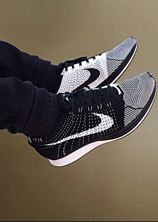 half off b362a 86904 Nike Flyknit Racer Black White Women