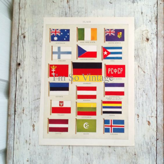 antique world flags chromolithograph 1926 by ImSoVintage on Etsy, $20.00