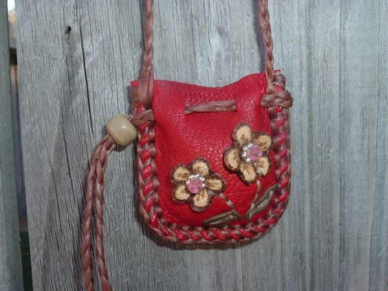 Deerskin Leather Medicine Bag with two flower by ncbeadsnbags, $17.00