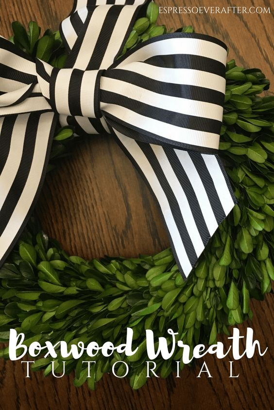 Boxwood Wreath Tutorial | DIY Home Decor - wreath tutorial - ribbon bow - boxwood diy - tutorial - diy - green wreath - black and white striped ribbon - how to make a wreath - hanging wreath