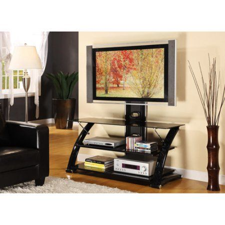 Innovex 60 inch Black Marble TV Stand with Mount for TVs up to 60 inch