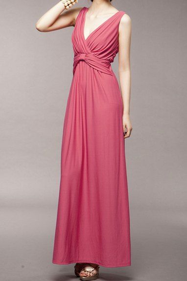 $10.54 Solid Color V-Neck Beam Waist Pliacted Bow Tie Ladylike Dress For Women