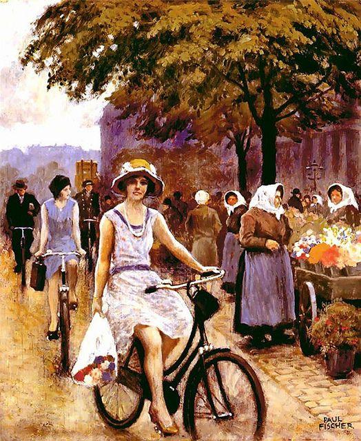 Fischer, Paul (1860-1935) - Bicycling Girl by RasMarley, via Flickr: