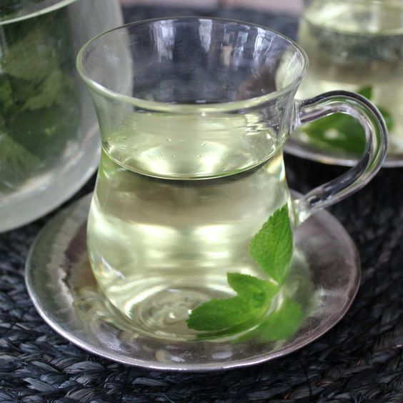 mint tea glass
