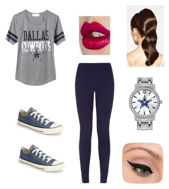"""""""Dallas Cowboys Football Fanatic"""" by angel-berry ❤ liked on Polyvore featuring Old Navy, Converse, Hershesons, Game Time, LORAC and Charlotte Tilbury"""