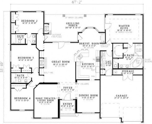 Planos de casas de 4 dormitorios en una planta buscar - Planos casa una planta ...