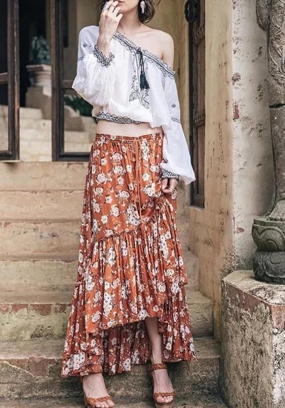 4e8609e35 Summer Chiffon Floral Print Boho Maxi Skirt on Luulla. Yellow Floral Draped  Swallowtail High-Low Beach Party Bohemian Gypsy Skirt