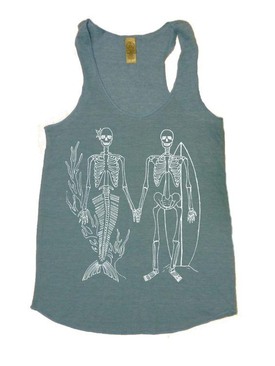 Skeleton Mermaid Surfer Tri Blend Tank  FreeBirdCloth.com