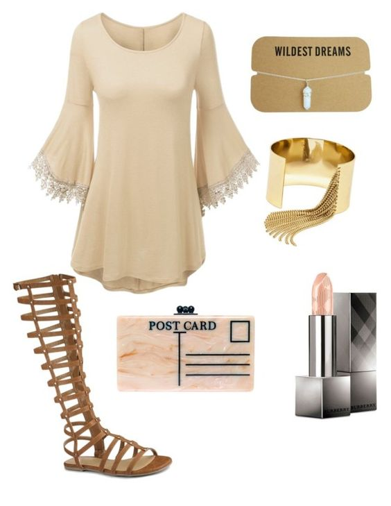"""Untitled #91"" by thesilverloutos on Polyvore featuring Edie Parker, BaubleBar and Burberry"