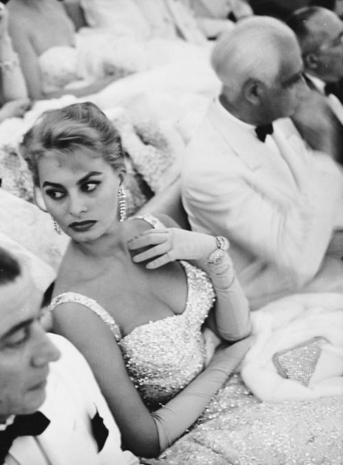 Sophia Loren attends the Venice Film Festival, 1955.: