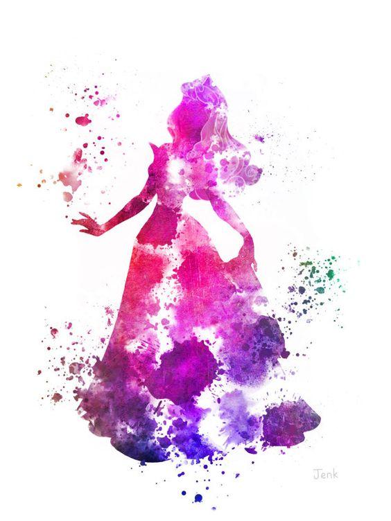 Aurora, illustration de Sleeping Beauty ART PRINT, Disney, princesse, technique mixte, Home Decor, pépinière, Kid
