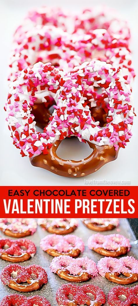 Easy Valentine's Day Treats | With the holiday season in full swing, we are sharing some easy Valentine's Day treats that are perfect for kids' parties at school or even that special someone in your life. Chocolate Covered Pretzels - You can also use things like M&M's or mini chocolate chips to decorate with.  #valentinesdaytreats #vdaytreats #vday #valentinesday #valentinesdayrecipes #vdayrecipes #valentinesdaydesserts #vdaydesserts #vdaykidsideas #valentinesdaykidsideas #vdaypartyideas