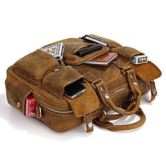 Vintage Handmade Genuine Crazy Horse Leather Business Travel Bag / Duffle: Travel Bags, Leather Bags