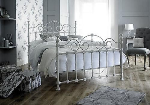 Victorian French Style Kingsize 5ft Cream Metal Bed Frame Shabby