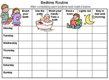 sticker chart 4 year old: Bedtime routine chart to solve sleep issues reward charts 4 kids