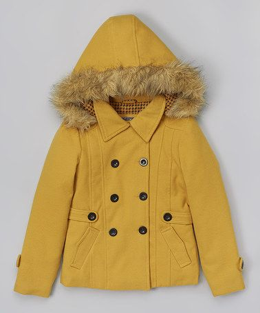 YMI Kids Gold Faux Fur Hooded Peacoat - Toddler | Coats Kid and
