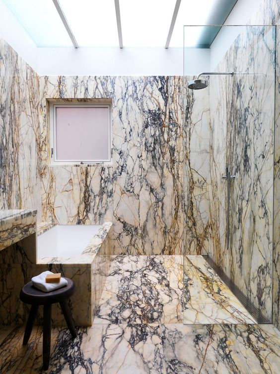 Selldorf Architects :: Collectors Townhouse Something very old world money about this modern bathroom. This type of marble is so hard to use well! #marble #bathrooms