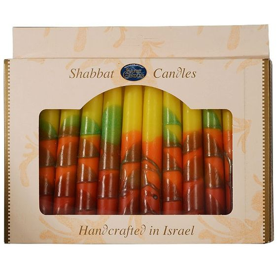 """Pack of 12 Sunset Red Shabbat Candles.  In the ancient city of Safed, nestled in the hills of the Galilee, skilled craftsmen create candles to bring the light of the Holy Land into your home.  Pack size 8 x 5.5 inches. Made in Israel.  """"Blessed are you Hashem, our God, who has santified us with His Mitzvot and commanded us to light the Shabbat Candles.""""  Shipped to you direct from the Holy Land."""