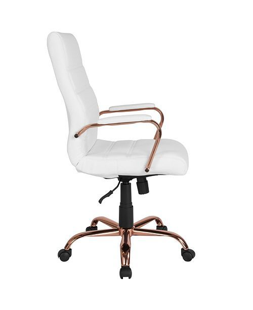 Flash Furniture High Back White Leather Executive Swivel Chair With Rose Gold Frame And Arms Reviews Furniture Macy S Gold Office Chair Home Office Chairs White Office Chair