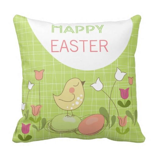 Cute Easter Chick Greeting Throw Pillow