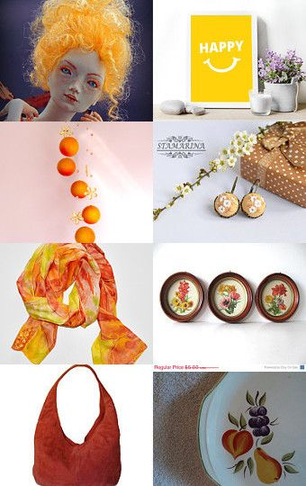 Summer gifts in orange by Julia Fisun on Etsy--Pinned with TreasuryPin.com