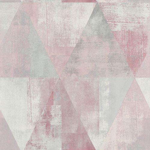 Vliestapete Rasch Dreieck Vintage Rosa Grau 410938 Tapeten Tapete Grau Rosa Grau