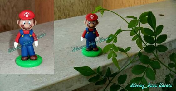 Super Mario Bros polymer clay statue