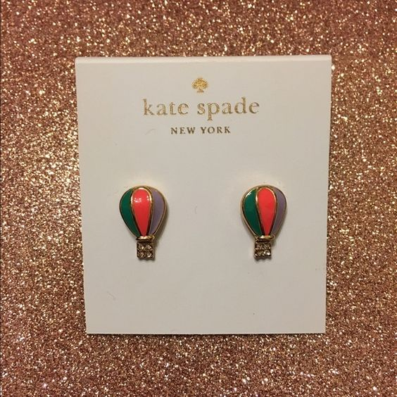 Kate Spade Hot Air Balloon Earrings Kate Spade. New with tag. Hot air balloons. Gold. Has a cute little dangling basket with 4 rhinestones on it. Comes with the Kate Spade dust bag. kate spade Jewelry Earrings