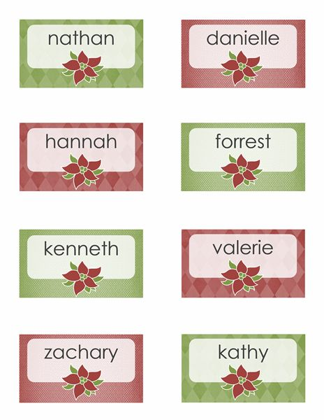 Holiday place cards poinsettia design 8 per page for Table 6 gift card