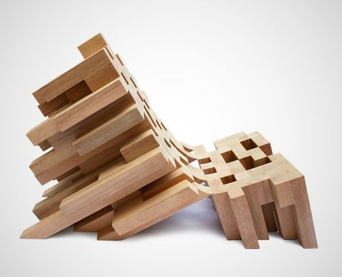 Butake Wooden Pixellated Lounge Chair by Raúl Téllez Herrera