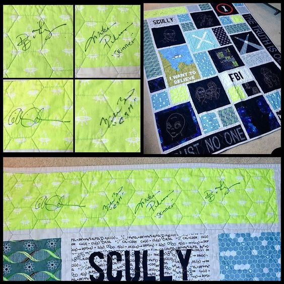 I guess I never shared this here and since yesterday was the 23rd anniversary of the X-Files premiere why not! A couple weeks ago I got to go to comic con in Chicago and had the four biggest X-Files stars all sign my quilt. (Which if you've been following me for a while you know was already my favorite thing I've ever made. Now it's extra awesome.) I had them all sign the bright green UFO block upper left.  Left to right: Gillian Anderson (Scully)  William B Davis (Cigarette smoking man)…