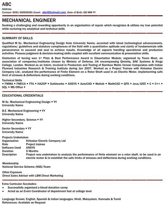 saravana18 (saravana18) on Pinterest - mechanical engineering resume template