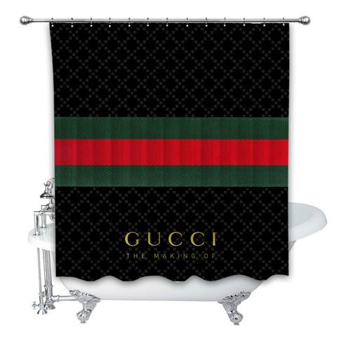 New Gucci Logo Stripe Custom Shower Curtain 100 Polyester Sold By Thehoky99 Shop More Product Custom Shower Curtains Custom Shower Striped Shower Curtains