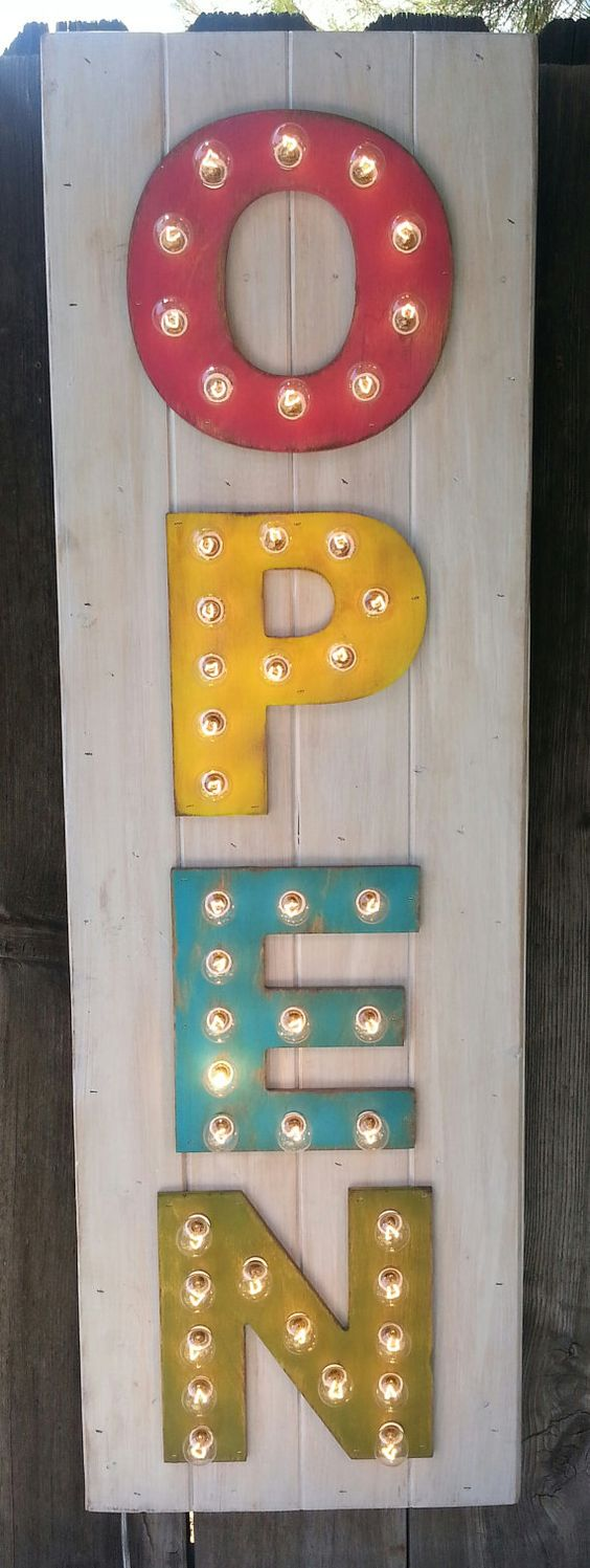 Custom Plank Style 4 Letter Lighted Marquee Sign - Designed by You, OPEN sign, Spell It Out