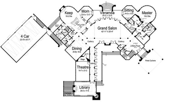 Castles 2nd floor and bonus rooms on pinterest for House plans with 2 story library