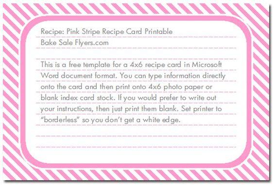 4X6 Recipe Card Template Sunflower Recipe Card Cookbooks - free recipe card templates for microsoft word