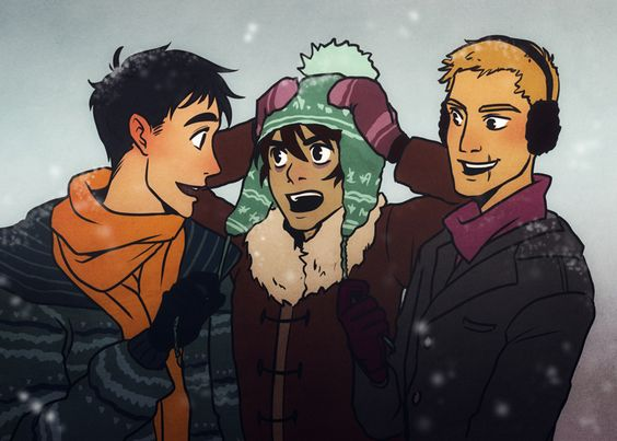 Percy, Nico, and Jason. I now ship Nico with that hat. It's just fabulous enough to contain his amazeness.