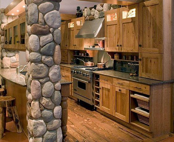 Northwoods Lodge Decor | Crystal Kitchen Center showroom lodge kitchen display
