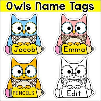 Owl Theme Name Tags & Locker Labels- for next year