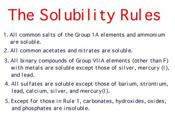Solubility Rules | Chemistry FUNdaMENTALs | Pinterest