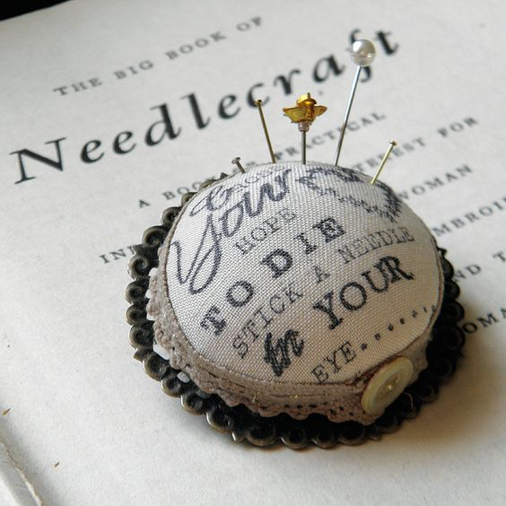 Cross Your Heart, Hope to Die - Pincushion Brooch. by Wychbury, via Flickr