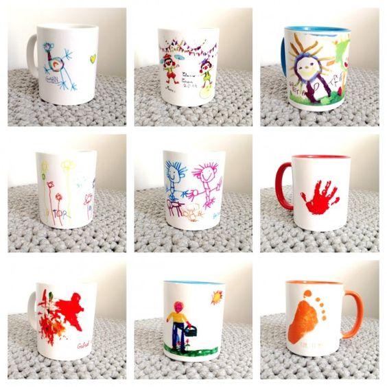 mugs-personnalisees chez happybulle. Faire réaliser un mug avec toutes les empreintes des enfants de la classe.