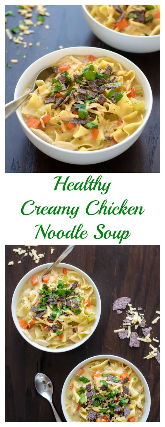 An easy and healthy Creamy Chicken Noodle Soup recipe that's perfect for busy weeknights. Great leftover too!