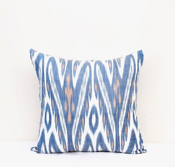 Blue ikat pillow cover Uzhandicrafts
