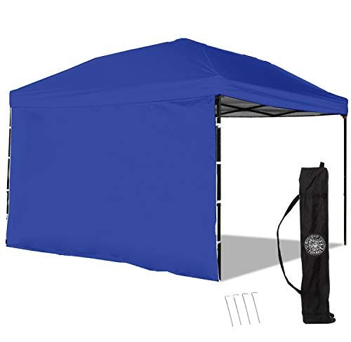 Punchau Pop Up Canopy Tent With Sidewall 10 X 10 Feet Blue Uv Coated Waterproof Instant Outdoor Gazebo Tent Bonus Roller Carry Bag All4hiking Com Canopy Tent Beach Canopy Tent