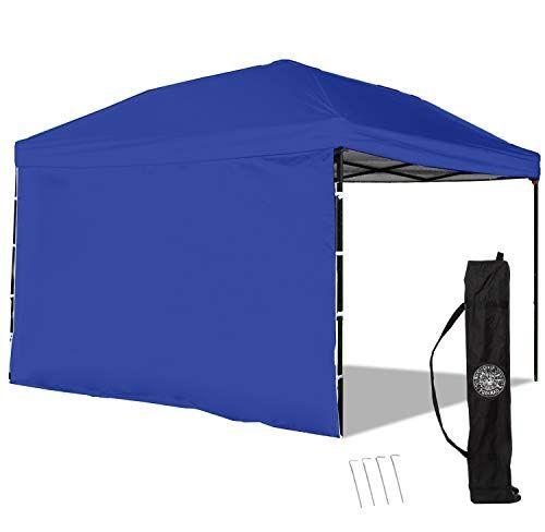 Punchau Pop Up Canopy Tent With Sidewall 10 X 10 Feet Blue Uv